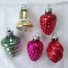 RARE Shapes Vintage 5 OLD Shiny Brite Glass Christmas Tree Ornaments 2 Inch