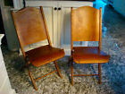 2 VTG 1940S WOOD METAL FOLDING CARD TABLE DINING THEATER SCHOOL CHAIRS WWII ERA
