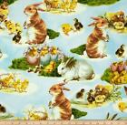 VICTORIAN SPRING EASTER BUNNY RABBIT CHICKS #2598 COTTON QUILT BTY SEW RK FABRIC