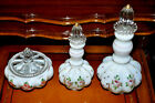 Antique Hand painted Set of 3 Decanters And Sugar Bowl, 30 photos (Read)