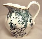 Staffordshire Teal & White Ribbed CREAMER, Gold Trim, ca. 1870-1890