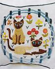 Cats in Captivity Siamese Floral Pillow Vtg Erica Wilson Crewel Embroidery Kit