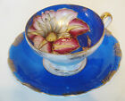 Vintage Blue Royal Sealy Blue Floral Cup and Saucer Set Japan
