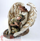 Army Winged Guardian Angel Statue Figurine Soldier Military Religious Art