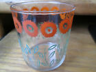 Vintage Anchor Hocking Large Glass Tumbler? with Orange Flowers Green Leaves