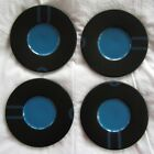 4 IKEA retro kitch saucers black blue 6-7/8