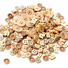 100pcs lot Mix Shape 2 Holes Natural Color Wooden Pattern Wood Sewing Buttons