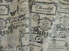 FRENCH PARIS Postage Stamp PRINTED BURLAP FABRIC by the YARD | SHABBY COUNTRY