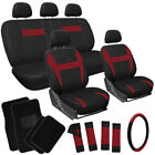 21pc Set Red Black Auto Car Seat Covers + Steering Wheel Cover + Floor Mats