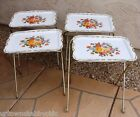 Vtg Metal Folding TV TRAY Snack Table Stand Set 4 Tole Flower ROSES Cottage Chic