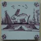 ANTIQUE DUTCH DELFT POTTERY TILE RABBIT 19TH. CENTURY MANGANESE