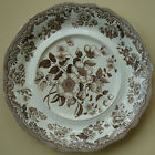 ANTIQUE SPODE BROWN TRANSFERWARE BRITISH FLOWERS LARGE PLATE PLATTER TRAY FLORAL