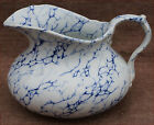 Blue and White Marbled Water Pitcher Bath French Faience Creil 1850