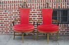 Vintage PAGANO FURNITURE Pair Parlor Arm Chairs Massive Wood Wrought Iron Scroll