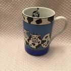 Konitz Germany Ceramic Coffee Mug Blue, White, Black Cow Mug Collectible MINT