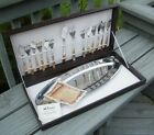 VINTAGE INOXPRAN STAINLESS STEEL WITH 24 KARAT GOLD FORKS KNIVES FISH SET TRAY