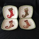 Set 4 222 Fifth CHRISTMAS STOCKINGS Square Salad Plate Holiday NEW 4 Designs