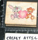 PRECIOUS MOMENTS BUNNY LOVES BEAR RUBBER STAMP STAMPENDOUS
