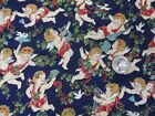 Sharon Kessler Concord Fabrics Angels Cherubs Christmas 3.5 Yards Navy W44