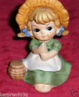 Vtg Little Country Folk Art Girl Figurine Porcelain Child In Bonnet And Basket