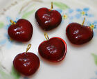 Vintage Ruby Glass Hearts Dangles Charms Heart Drops Siam Puff NOS Gold 694
