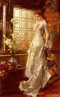 Oil painting conrad kiesel - at the window nice young girl with white flowers @@