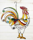 Hanging Country Farm Rooster Stained Glass Copper Wall Plaque W Colorful Gems