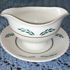 Coronation by Hanover China Gravy Boat Attached Saucer Green Gold Leaf 605