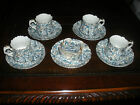VINTAGE LEFTON CHINA GOLD BLUE PAISLEY 4 CUPS 5 SAUCERS 4 ASHTRAYS HAND PAINTED