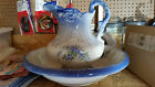 LARGE ANTIQUE VICTORIAN BLUE PORCELAIN PITCHER AND WASH BOWL BASIN SET