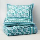 Bloomingdale's Raja Blue and Teal Green 2 PC Twin Quilt Coverlet Set    NIP