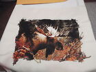MOOSE SCENE ANTLERS HUNTING ANIMALS WILDLIFE QUILT PILLOW FABRIC PANELS 14X14