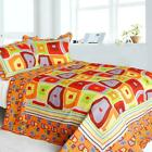 3 PC Sparks Fly orange purple green yellow 100% Cotton Queen Quilt +Shams