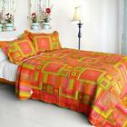 3 PC Song of Sunset square red orange green yellow 100% Cotton Queen Quilt Shams