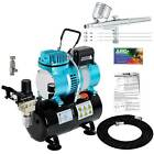 2 3 5 Gravity Dual Action AIRBRUSH KIT Tank Air Compressor Hobby Cake Tattoo