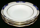 Spode Stafford Blue Leaf Bone China * FOUR Rimmed Soup Bowls * Early Green Mark