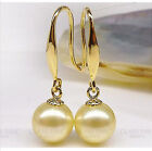 Gorgeous AAA 8-9mm natural south sea golden round pearl earring 14k Yellow Gold