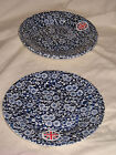 QUEEN'S Malaysia Cobalt Blue Calico Chintz Salad Plate NEW! Stickers attached!