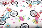 CRUISER BICYCLES PINK BLUE ORANGE FLANNEL FABRIC 100 COTTON SEWING SOLD BTY