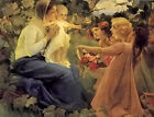 Oil painting presenting flowers to the infant mother with child young girls art