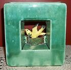 McCoy Vintage Arcature Green Square Block Pottery Yellow Finch Bird Vase