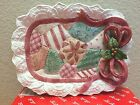 RETIRED Fitz & Floyd Christmas Quilt Canape/Cookies for Santa Plate EUC