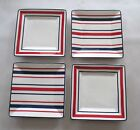Tommy Hilfiger - Appetizer Plates- The Stripe set of 4 NIB Red White Blue