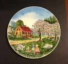 Vintage Large Western Germany  Figural Porcelain Plate - Cottage Scene