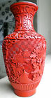A Vintage Chinese Carved Cinnabar Red Lacquer On Brass Vase