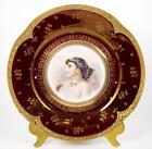 Vintage Antique Portrait Plate Hand Decorated Lady Pearl Headband Red Gold 1880+