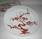 Fitz and Floyd Prunier De Chine Red Positive 6 Dinner Plates