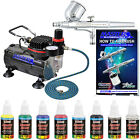 Gravity Feed Dual Action Airbrush  Compressor Set 6 Color Opaque Art Paint Kit