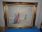 MARIE CHARLOT Signed Original Oil on Canvas Done in Palette Knife Beach Scene
