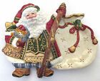 Fitz & Floyd Jolly Ole St Nick Santa Handled Serving or Candy Dish - Nib